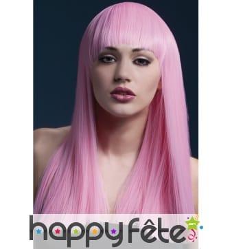 Longue perruque lisse rose clair néon de 48cm