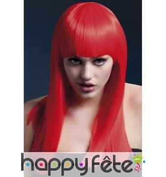 Longue perruque lisse rouge néon de 48cm