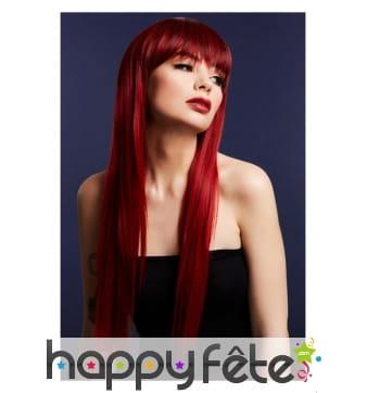 Longue perruque lisse rouge rubis avec frange