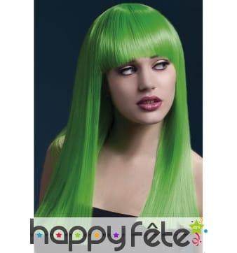 Longue perruque lisse vert néon de 48cm