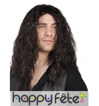 Longue perruque noir bouclée pour homme