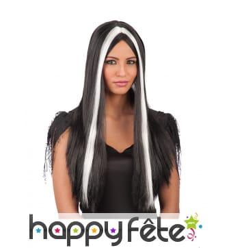 Longue perruque noire avec mèches blanches