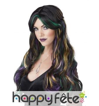 Longue perruque noire avec mèches colorées