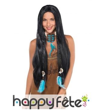 Longue perruque noire avec tresses pour femme