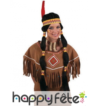 Longue perruque noire d'indienne avec bandeau