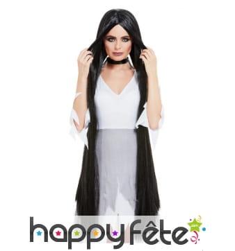 Longue perruque noire de 120cm