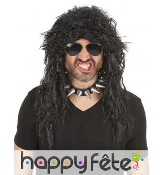 Longue perruque noire de hard rockeur