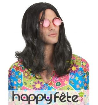Longue perruque noire de hippie pour homme