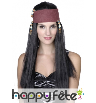 Longue perruque noire de pirate pour femme