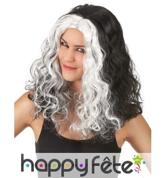 Longue perruque noire et blanche bouclée