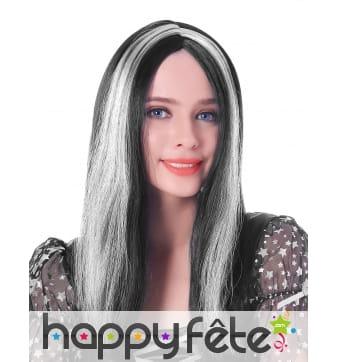 Longue perruque noire et blanche lisse de 45cm