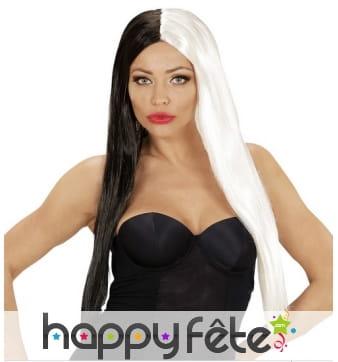 Longue perruque noire et blanche symétrique