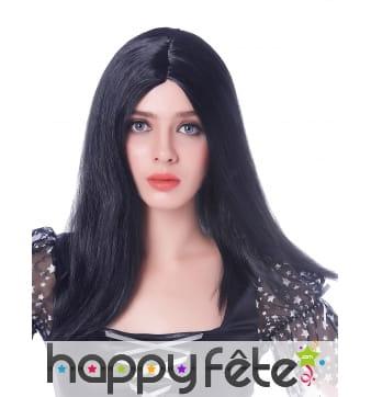 Longue perruque noire lisse de 45cm