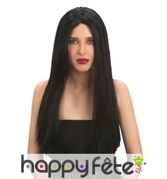 Longue perruque noire lisse, raie centrale