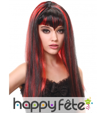 Longue perruque noire mèches rouges de vampire