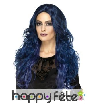 Longue perruque ondulée bleue et noire