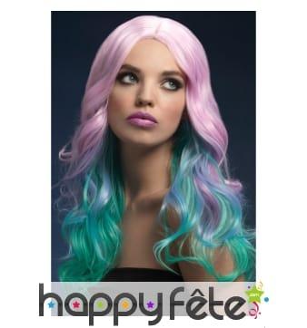 Longue perruque ondulée multicolore