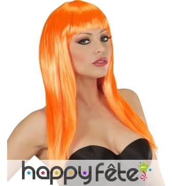 Longue perruque orange lisse à frange droite