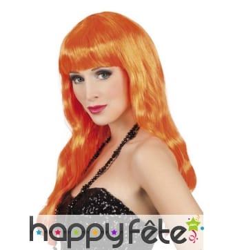 Longue perruque orange ondulée avec frange