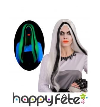 Longue perruque phosphorescente noir et blanc