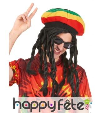 Longue perruque rasta avec bonnet jamaïcain