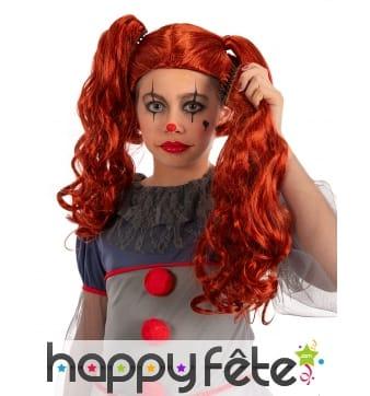 Longue perruque rouge avec couettes, pour enfant