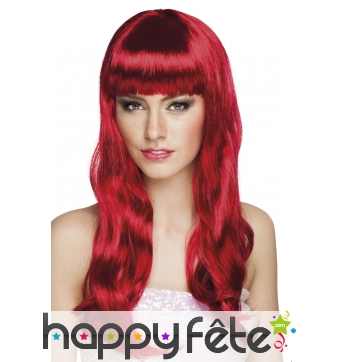 Longue perruque rouge foncée ondulée avec frange
