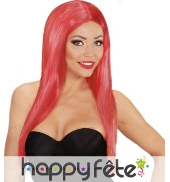 Longue perruque rouge lisse raie centrale