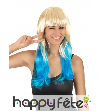 Longue perruque Tie & Dye blond et bleu