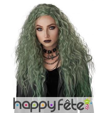 Longue perruque verte ondulée pour femme