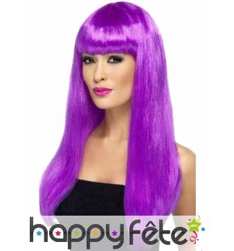 Longue perruque violet fluo lisse et frange