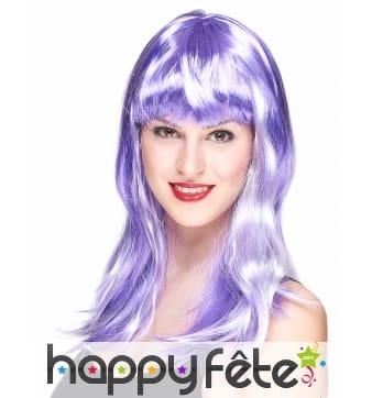 Longue perruque violette et blanche
