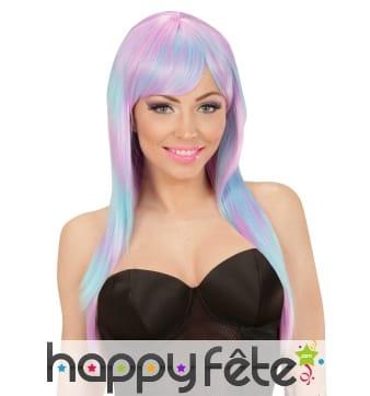 Longue perruque violette et bleue