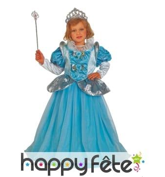 Large robe bleue de princesse pour enfant