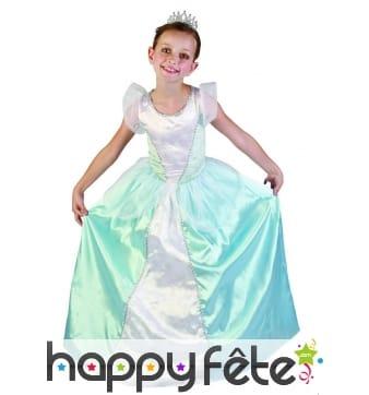 Large robe bleue et blanche de petite princesse