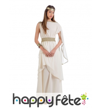 Longue robe blanche de déesse romaine