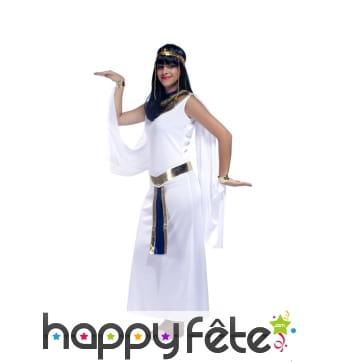 Longue robe blanche de reine égyptienne