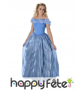 Longue robe bleue unie de princesse pour femme