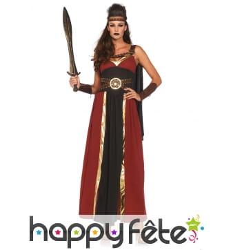 Longue robe bordeaux noire de guerrière romaine