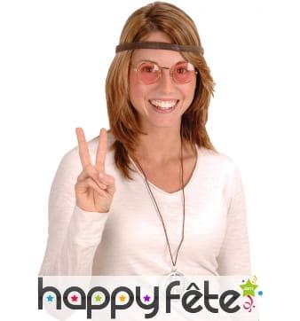 Lunettes rondes, bandeau et collier hippie