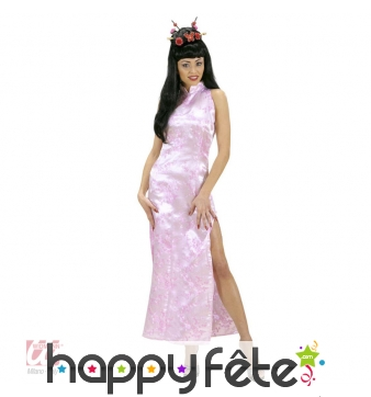 Longue robe chinoise rose pour femme