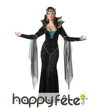 Longue robe costume noire de la méchante reine