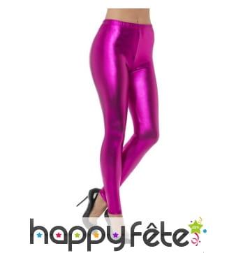 Legging rose disco effet métallique
