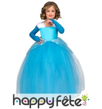 Longue robe de bleue de princesse pour enfant