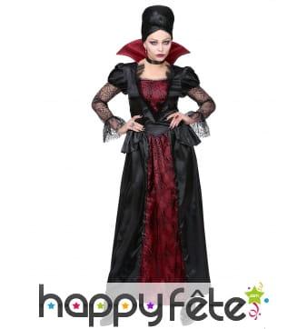 Longue robe de dame vampire rouge et noir