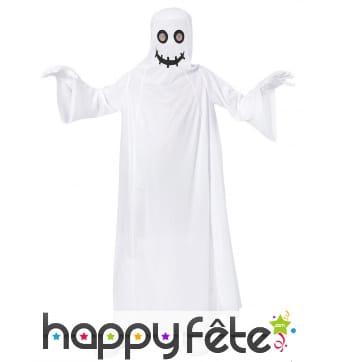 Longue robe de fantôme blanc avec cagoule, enfant