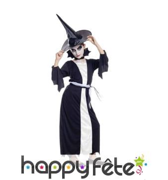 Longue robe de petite sorcière noire et blanche