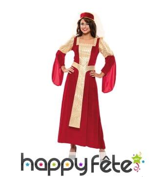 Longue robe de reine médiévale rouge et dorée