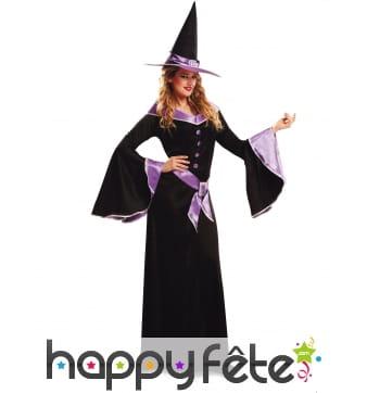 Longue robe de sorcière noire et violette, femme