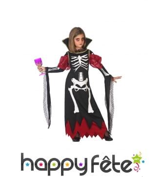 Longue robe de squelette vampire pour petite fille